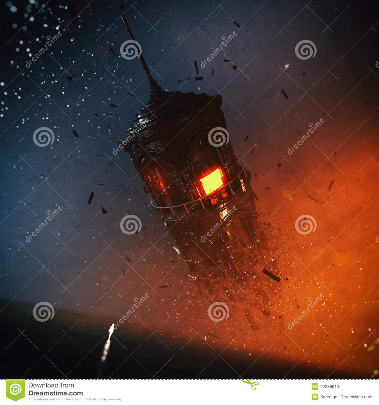 Fantasy Surreal Tower Concept Stock Illustration