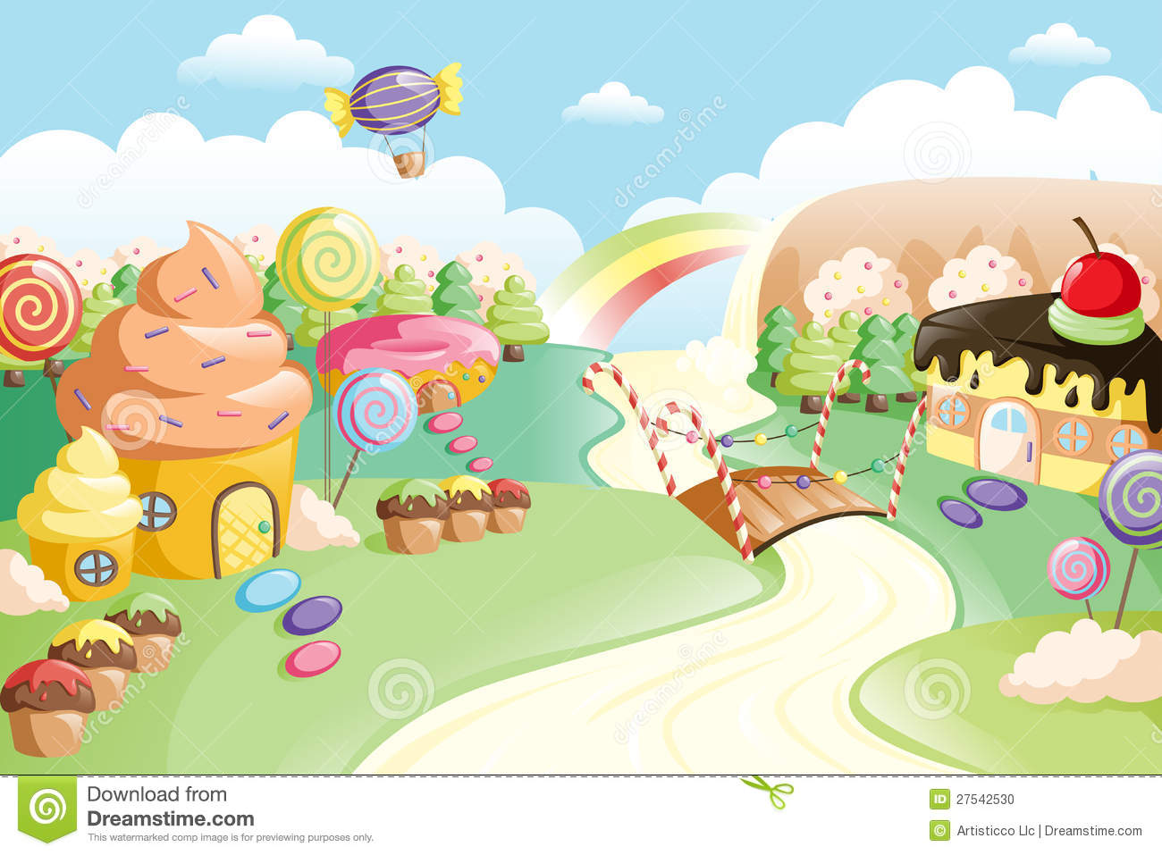 Fantasy Sweet Food Land Stock Photo - Image: 27542530