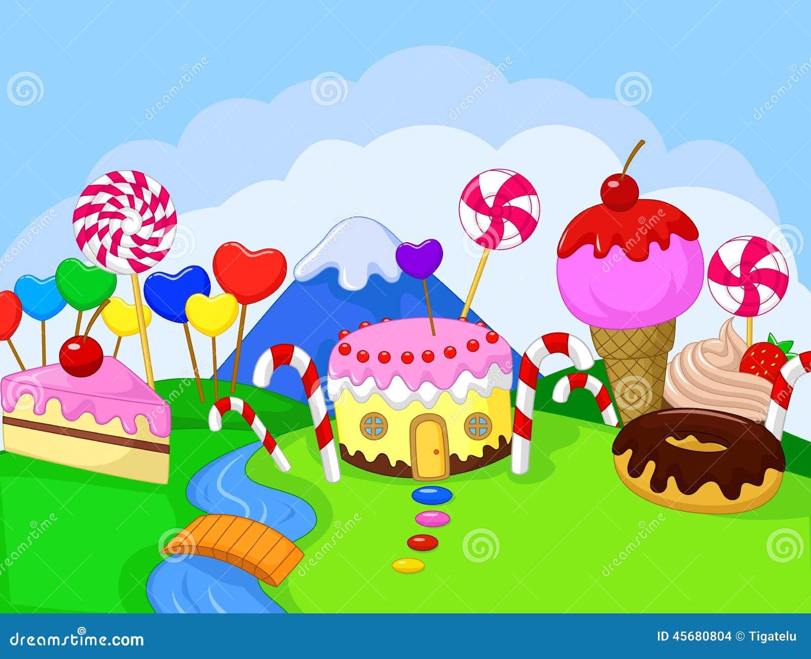 Fantasy Sweet Food Land Stock Vector Image 45680804