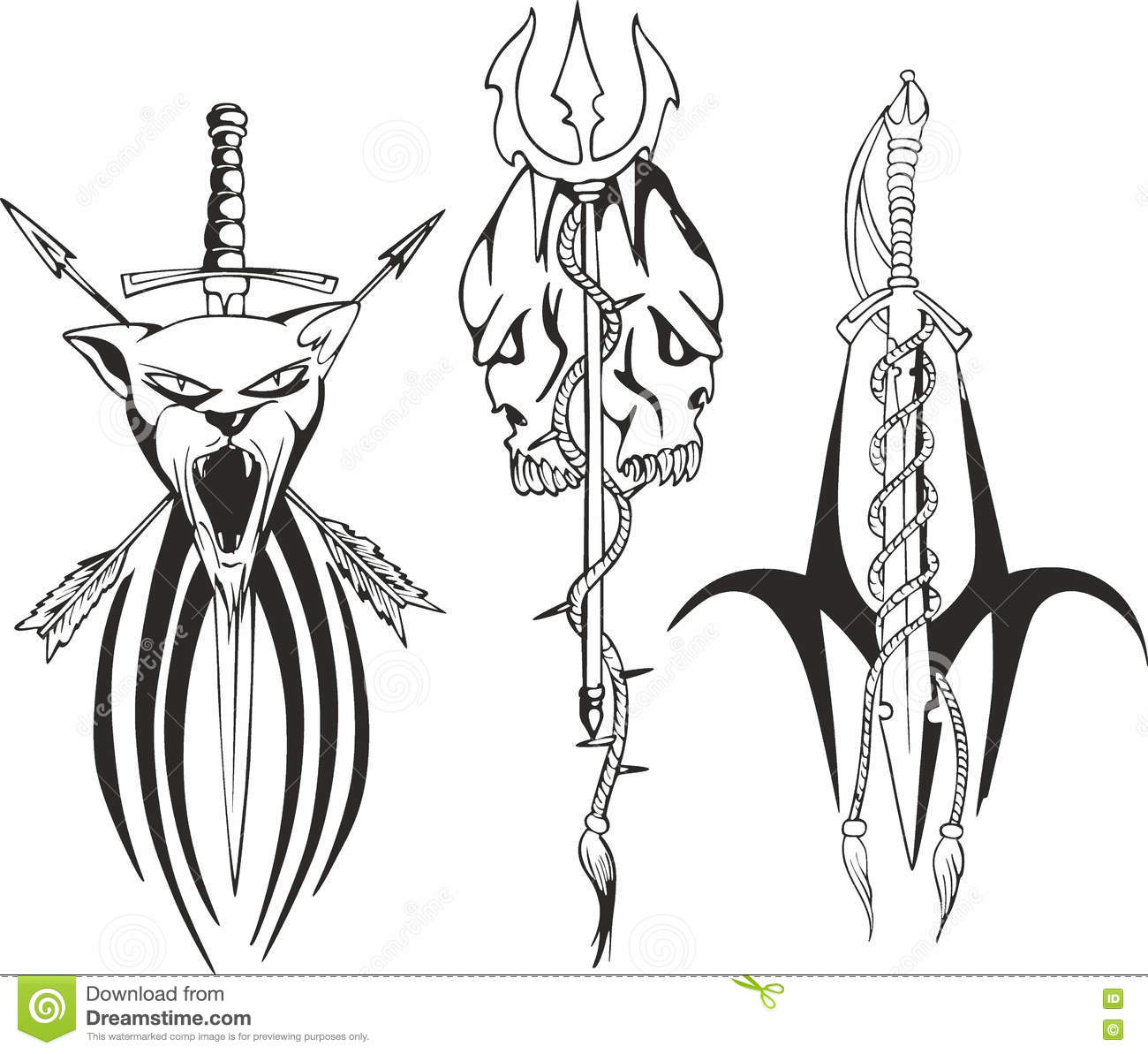 tattoo sketches with snakes daggers and skull cartoon