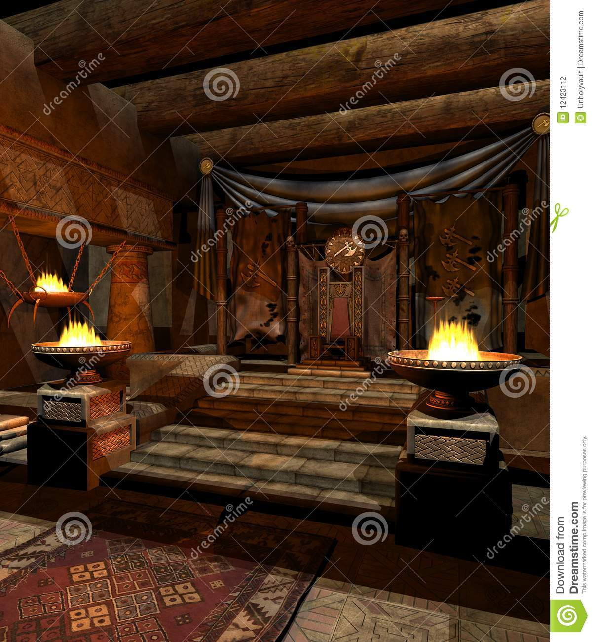Fantasy Throne Room 2 Stock Illustration Image Of