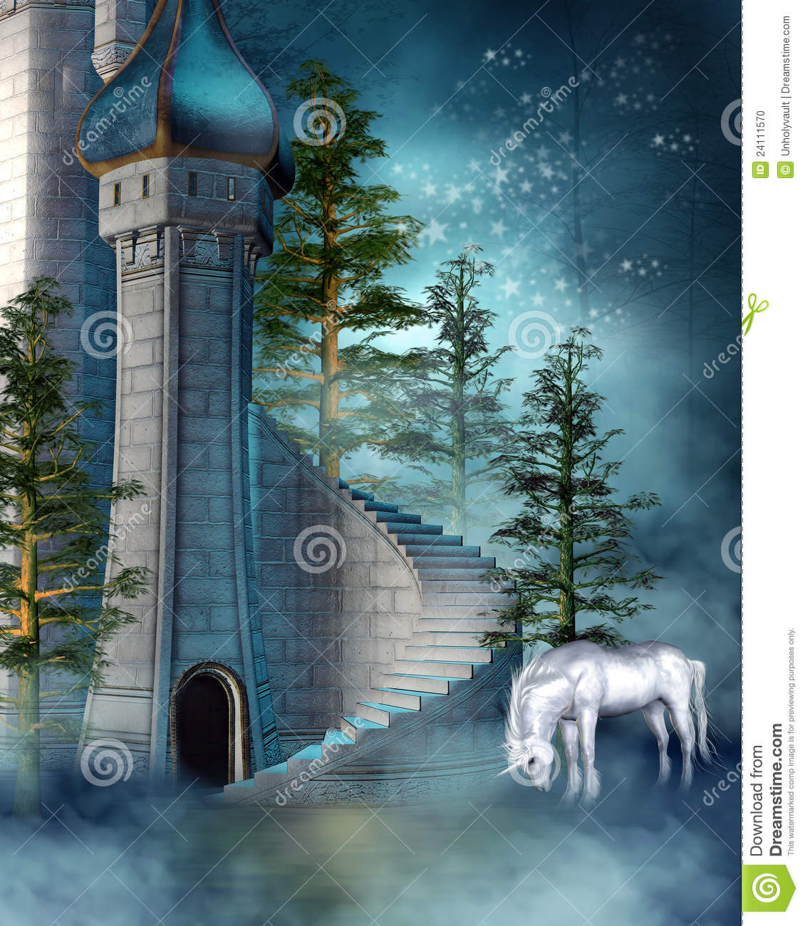 More similar stock images of ` Fantasy tower with a unicorn `
