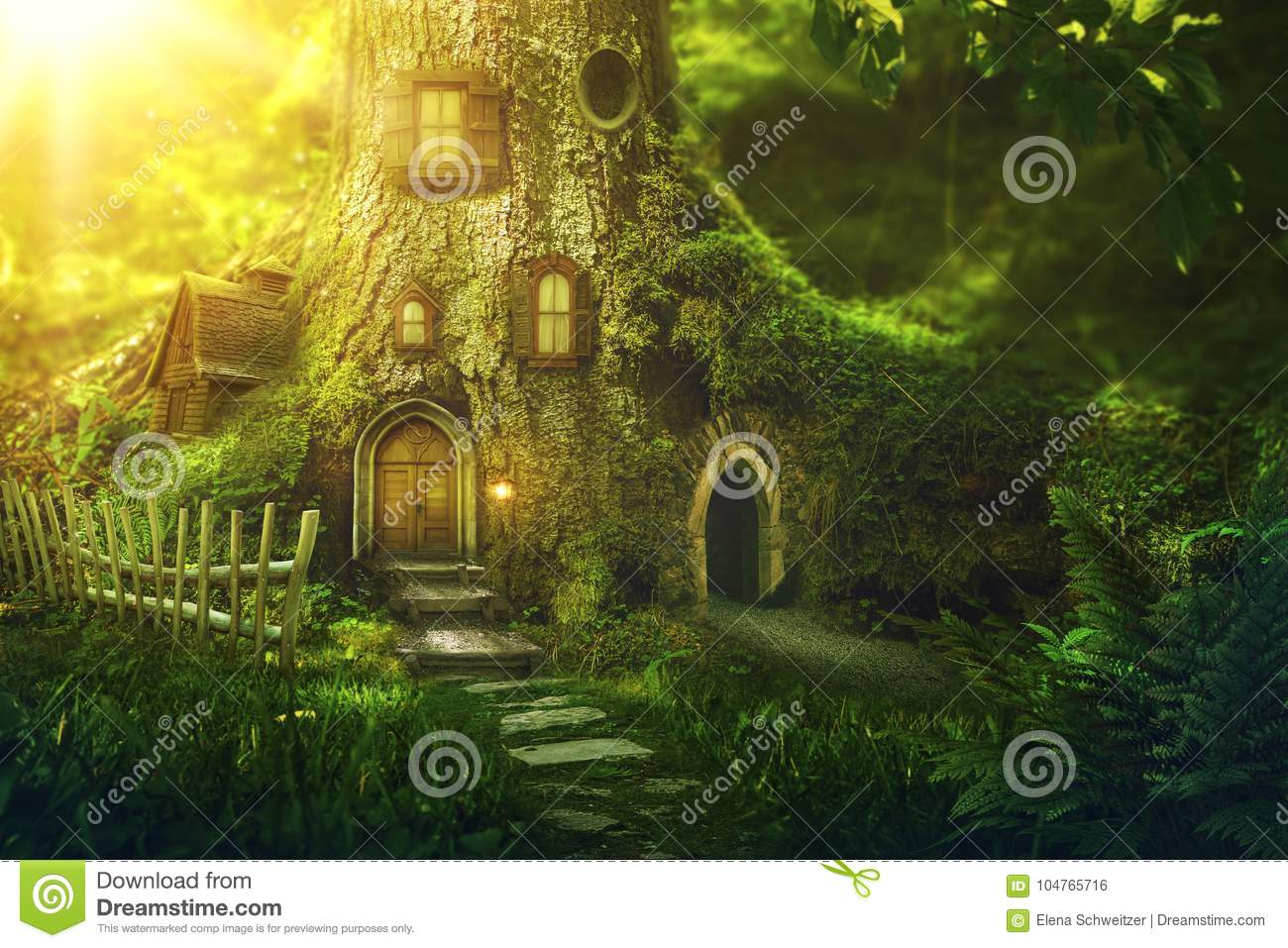 Download Fantasy tree house stock photo. Image of home, window - 104765716