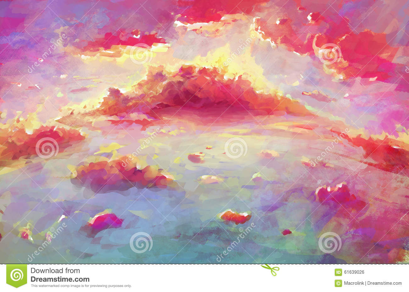 Colorful Landscape Illustration of Pink Clouds. Fantasy Wallpaper of Scenic Sunset.