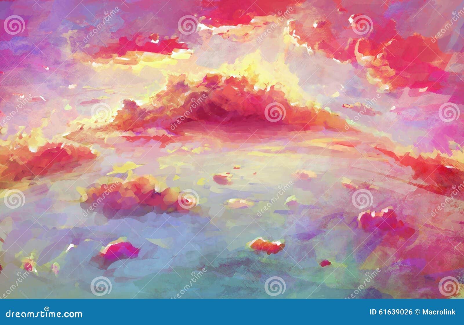Fantasy Wallpaper Of Scenic Sunset Stock Illustration