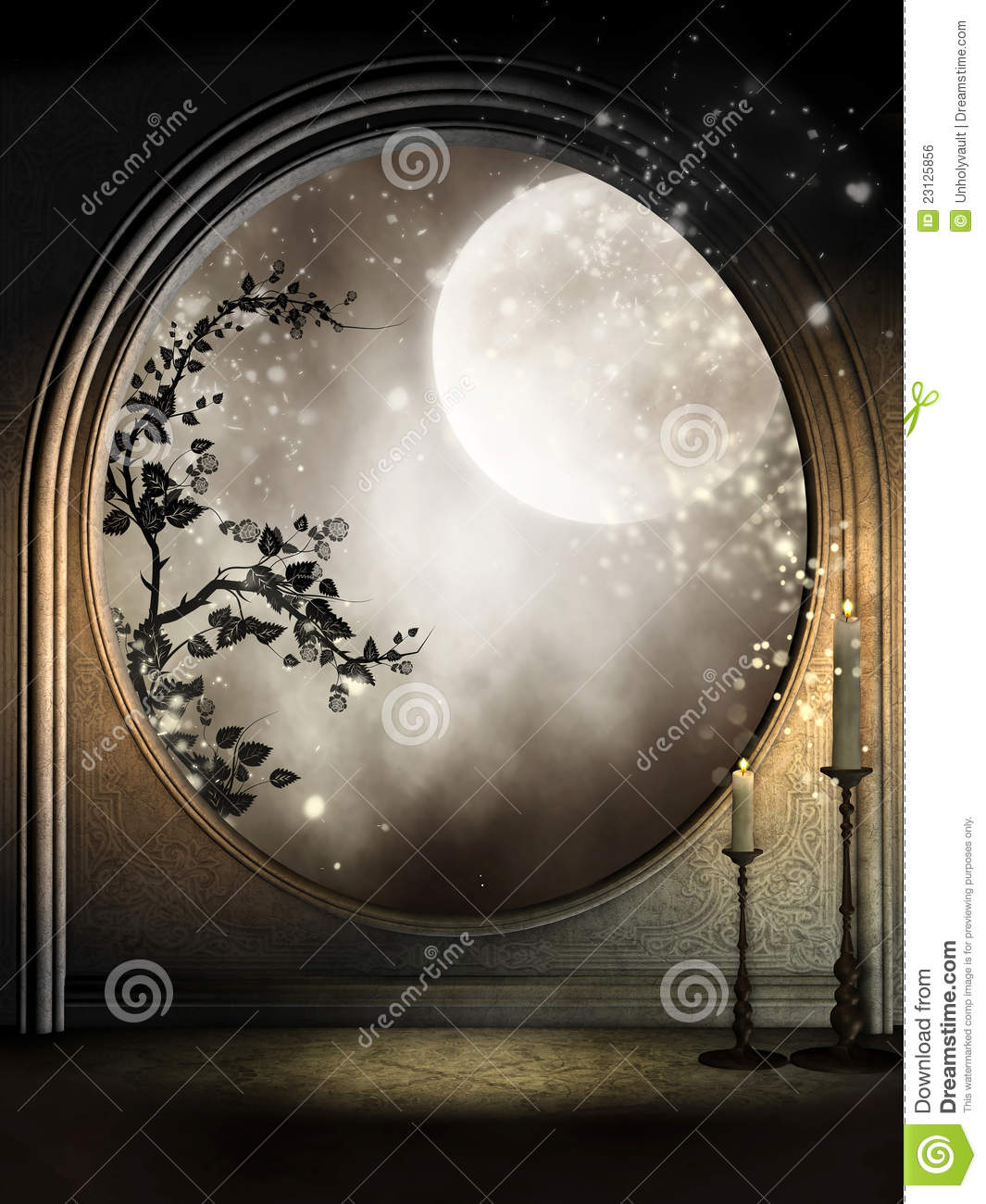 Fantasy Window With Vines Royalty Free Stock Image Image 23125856