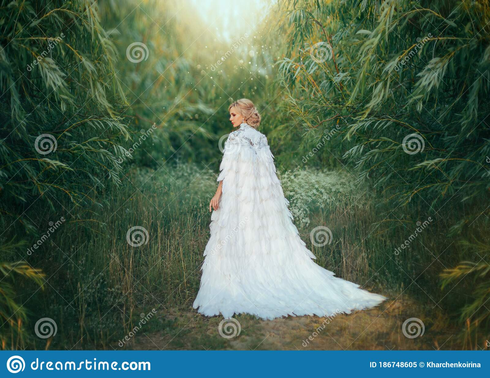 Fantasy Woman Queen In White Medieval Dress With Feathers Creative Clothes Long Cape Royal Vintage Cloak With Train Stock Image Image Of Back Angel 186748605