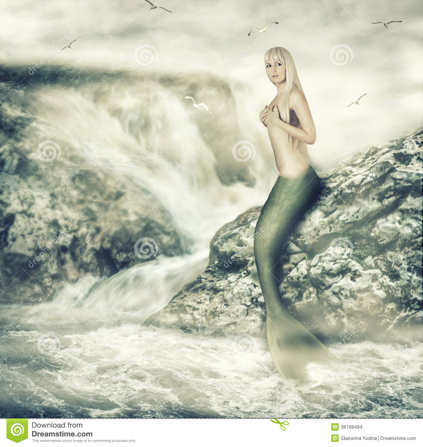 Beauty mermaid sitting on rock Fantasy Mermaids On Rocks