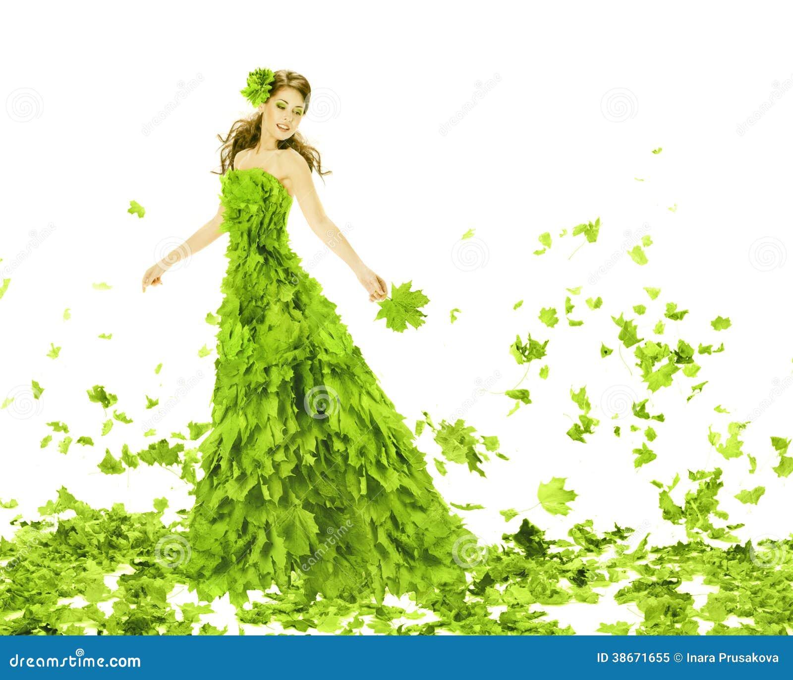 Fantazi piękno, kobieta w liść sukni