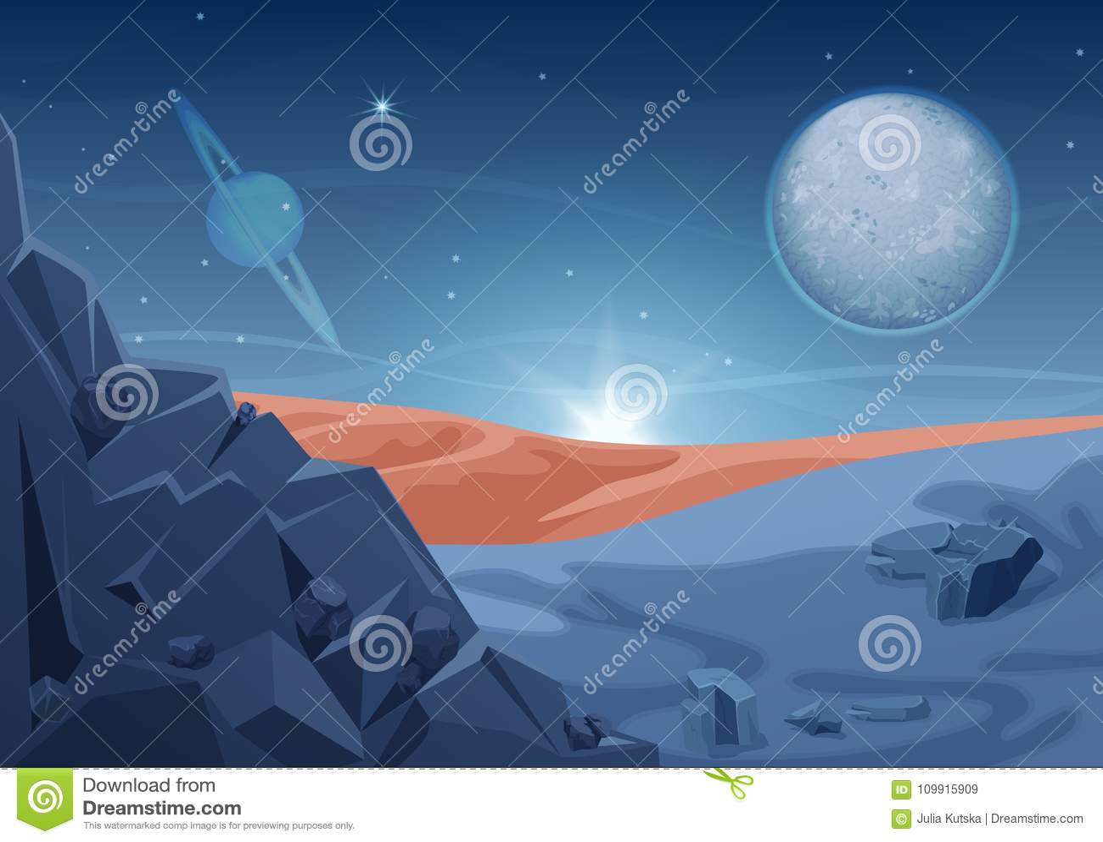 Fantazi tajemnicy obcego krajobraz, inna planety natura z skałami i planety w niebie, Gemowego projekta galaxy wektorowa przestrz