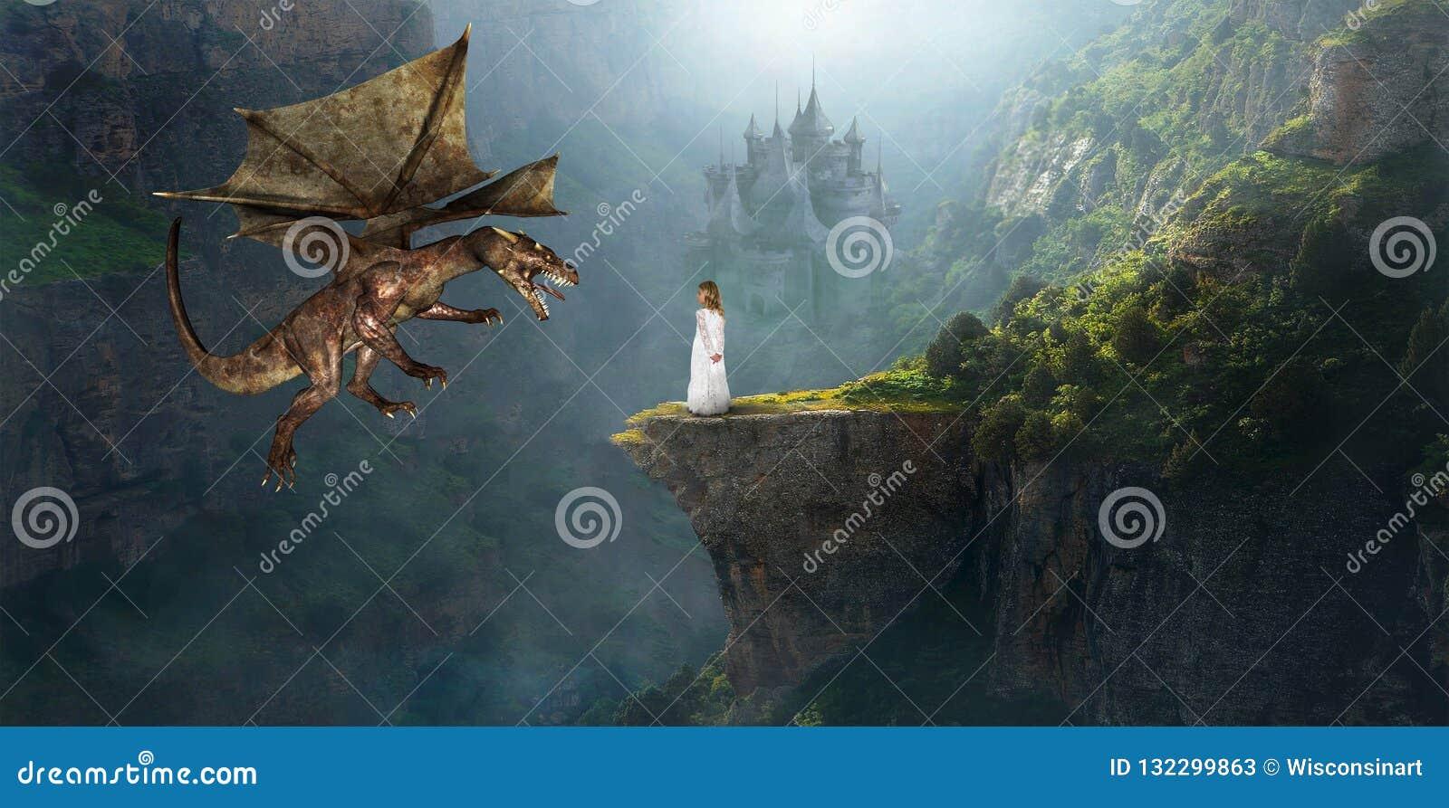 Fantazja smok, kasztel, dziewczyna, wyobraźnia, Princess