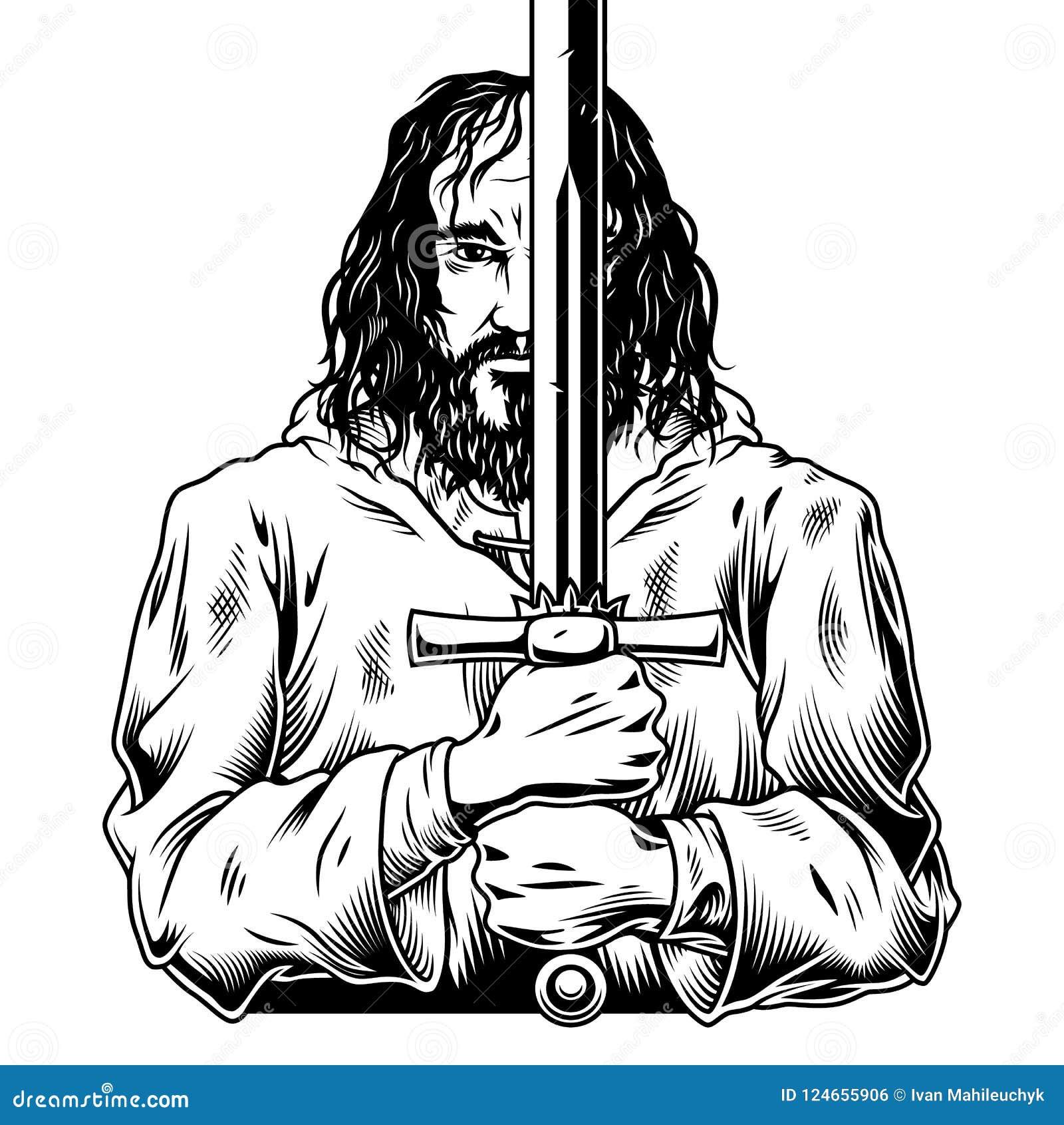 Fantazja wojownik z kordzikiem