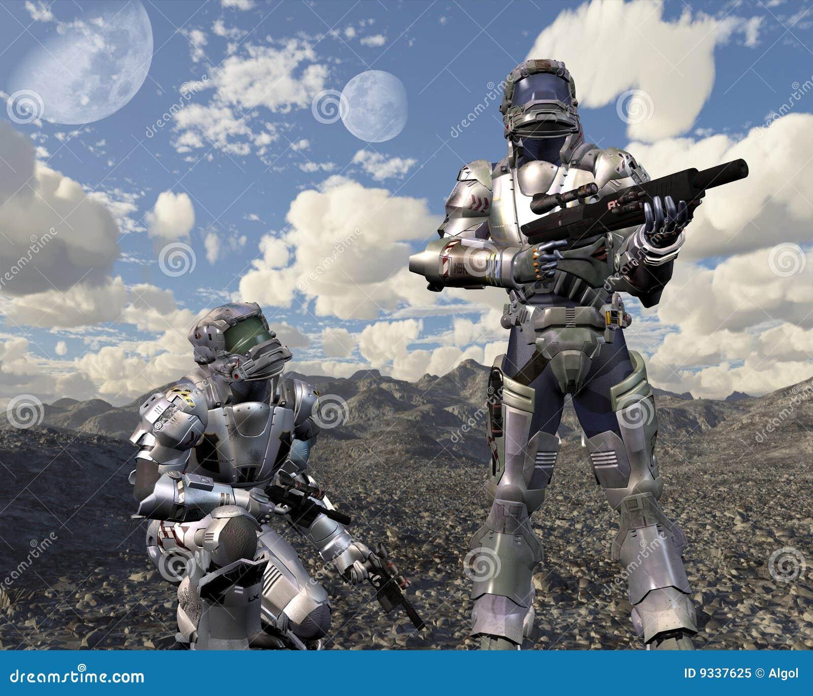 Fanti di marina dello spazio sul pianeta abbandonato - 1
