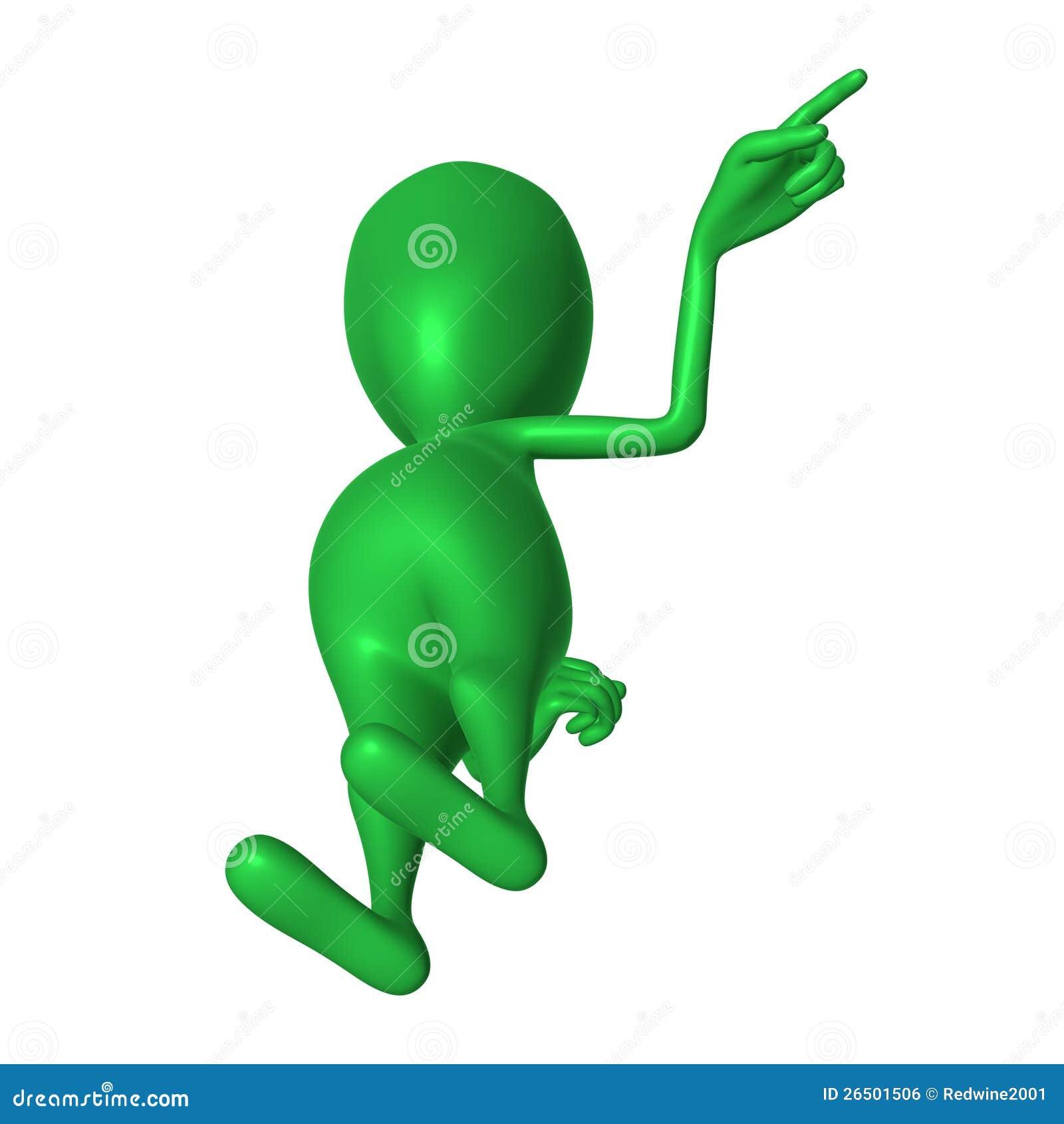 Fantoche 3d verde da vista que imita apontando o dedo