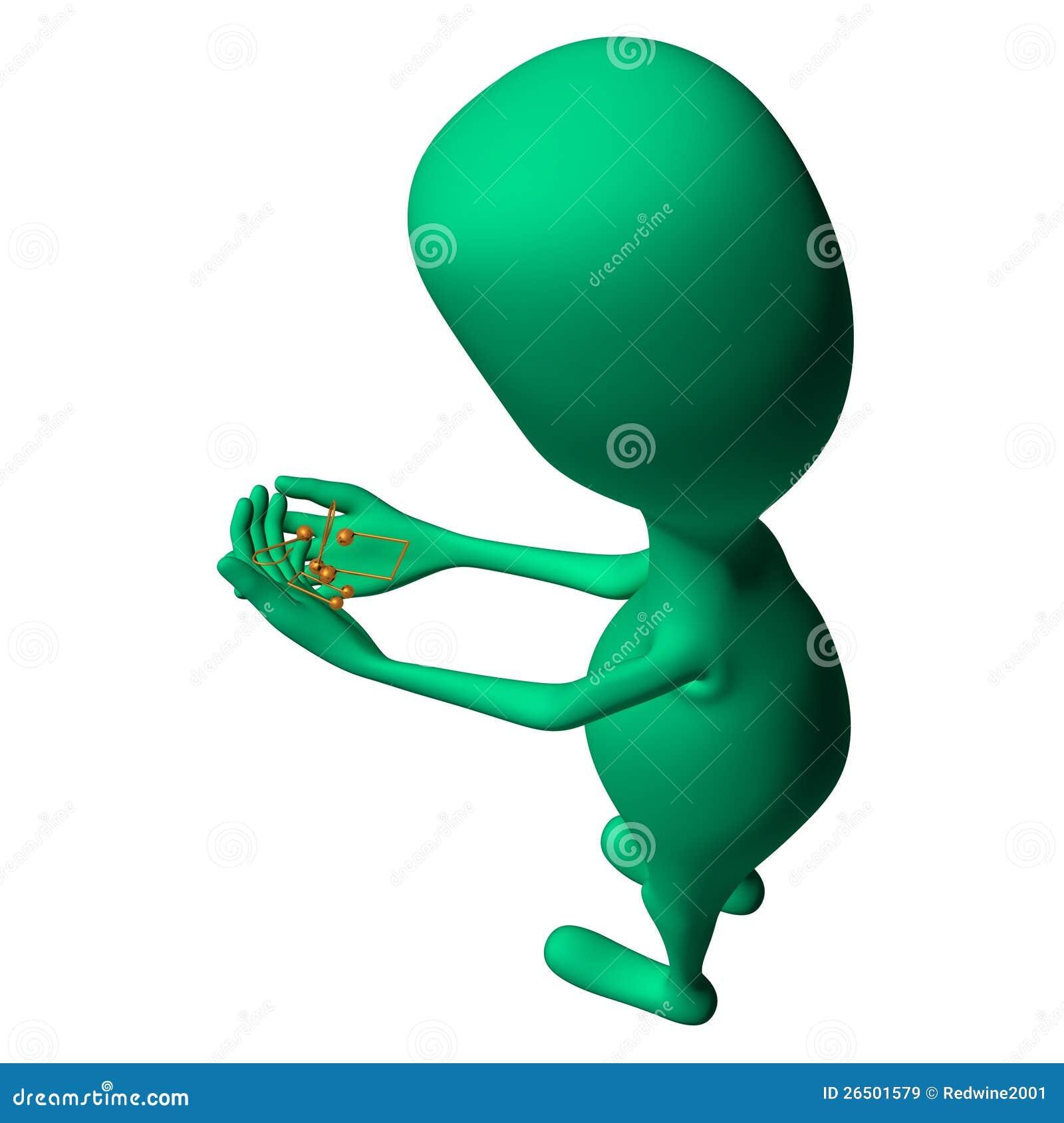 Fantoche 3d verde que olha em notas pequenas