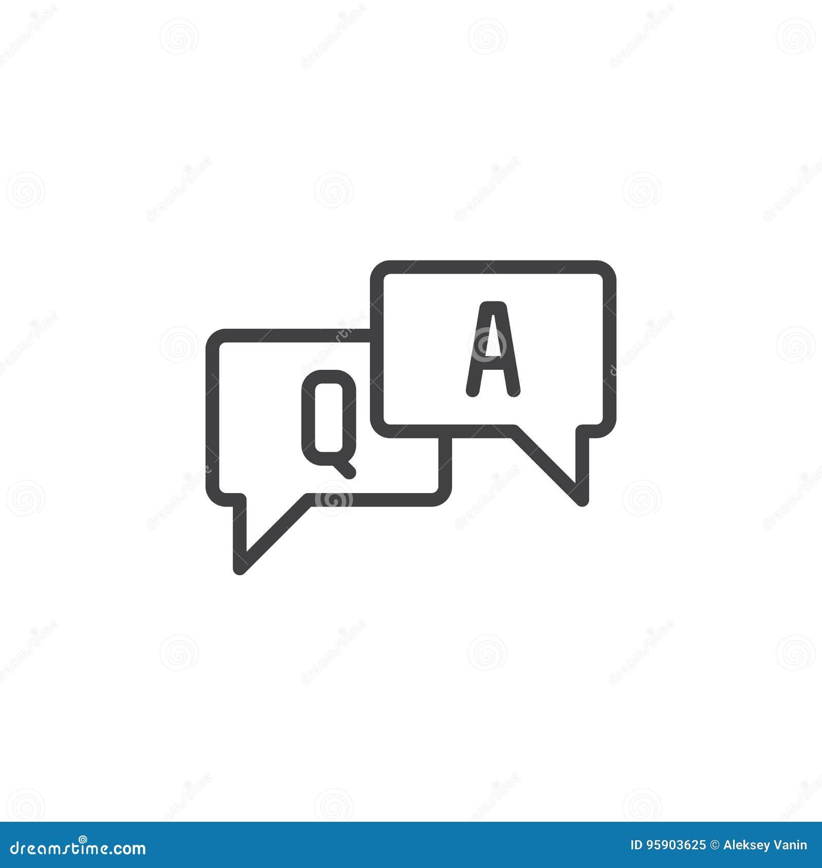 FAQ, Fragen und Antworten zeichnen Ikone, Entwurfsvektorzeichen, das lineare Artpiktogramm, das auf Weiß lokalisiert wird