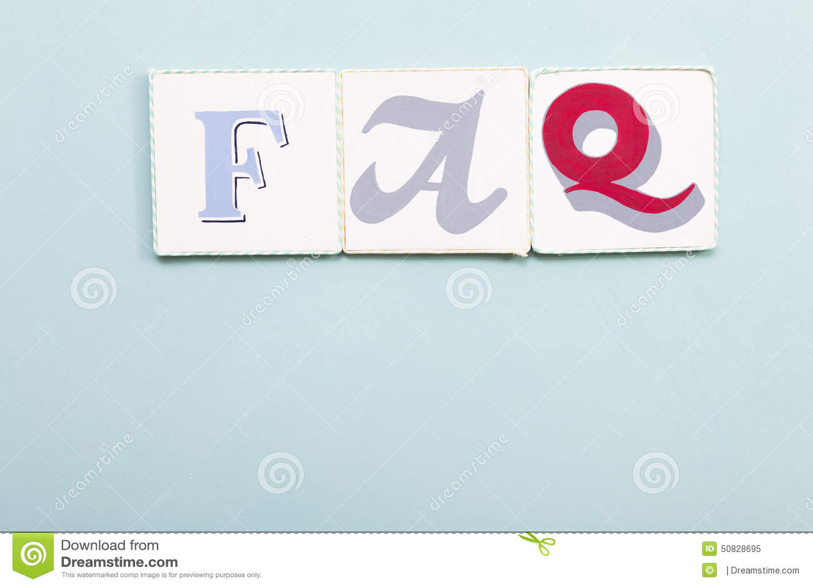 FAQ Signboard. Handwritten Colors Letters Word. Light Blue Background ...