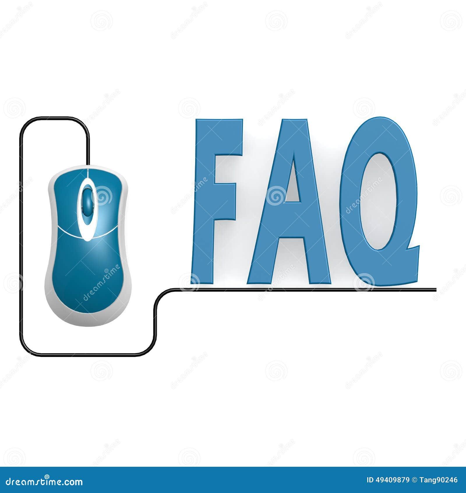 Download FAQ-Wort mit Computermaus stock abbildung. Illustration von geschäft - 49409879