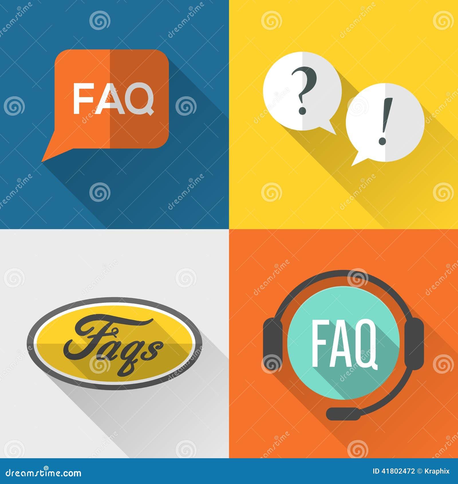 Faq: FAQs Icons Set Flat Design Stock Vector. Image Of Help