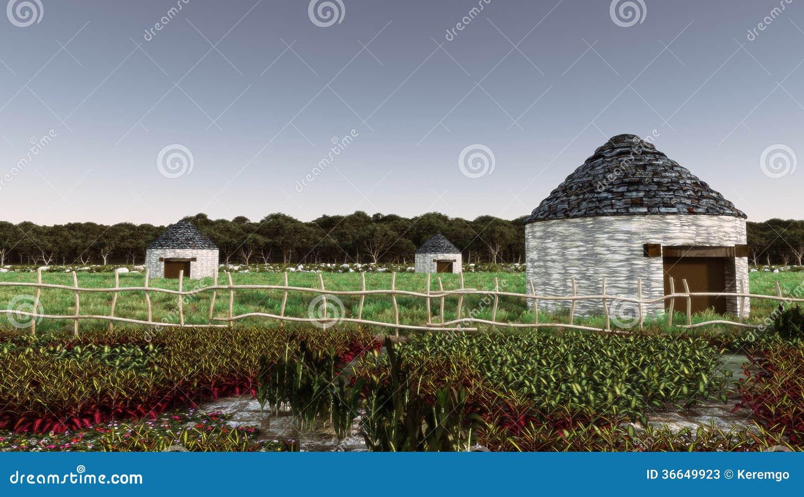 Far East Daytime Village Landscape