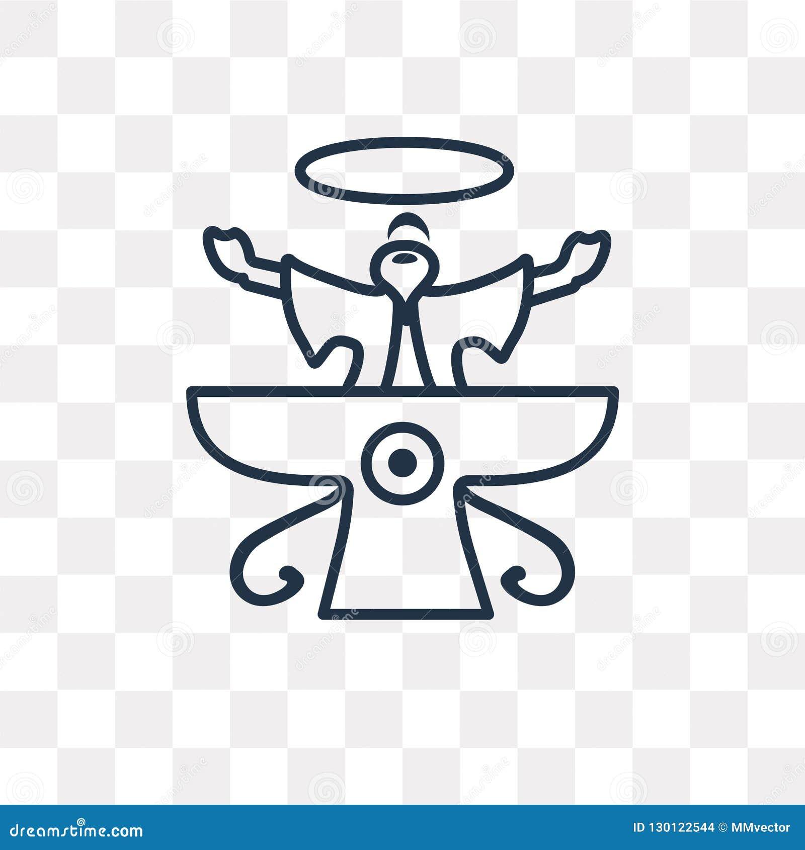 Faravahar vektorsymbol på genomskinlig bakgrund som är linjär