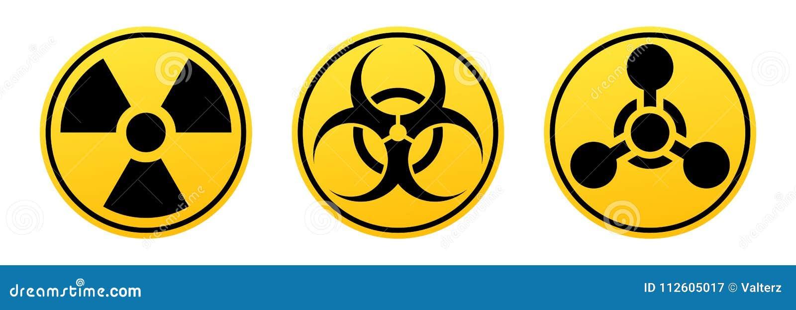 Faravektortecken Utstrålningstecknet, Biohazardtecknet, kemiska vapen undertecknar