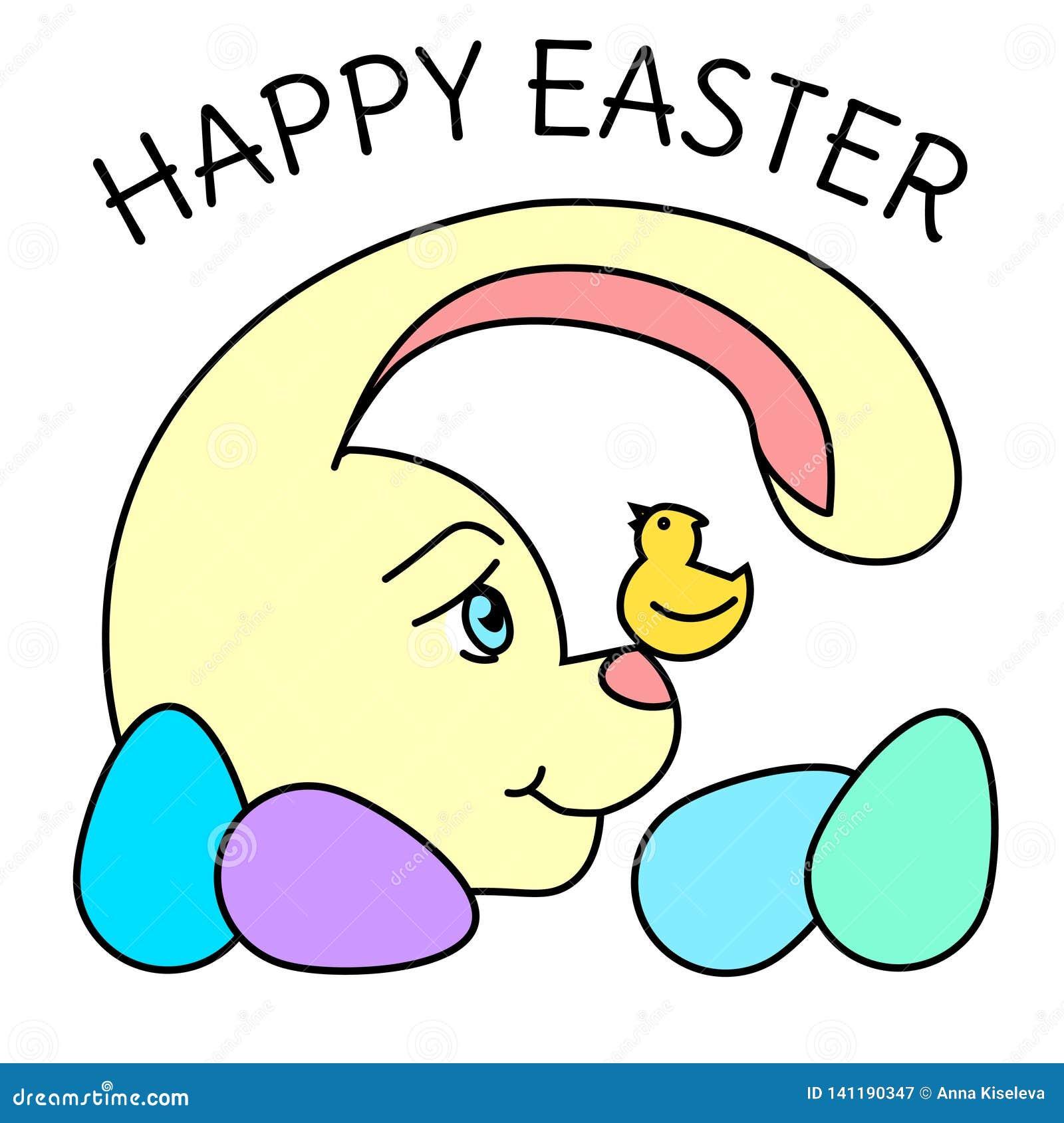Farb-Osterhase mit dem Ei, den kleinen singenden Vogel betrachtend