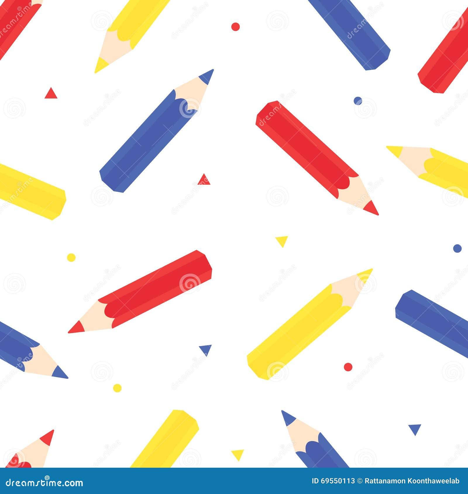 Farbbleistifte: Rot, Blau Und Gelb Stock Abbildung