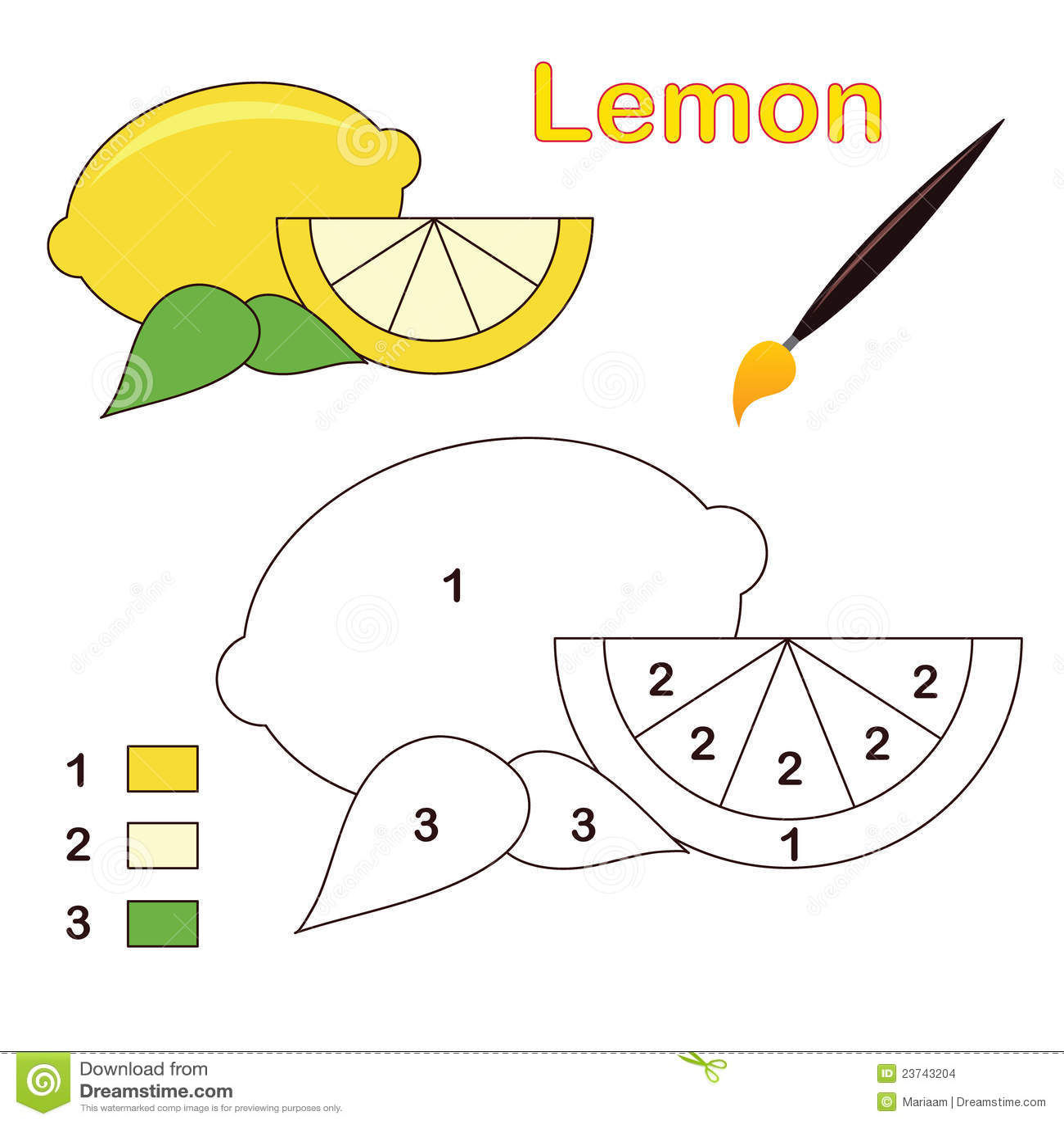 Farbe durch Zahl: Zitrone