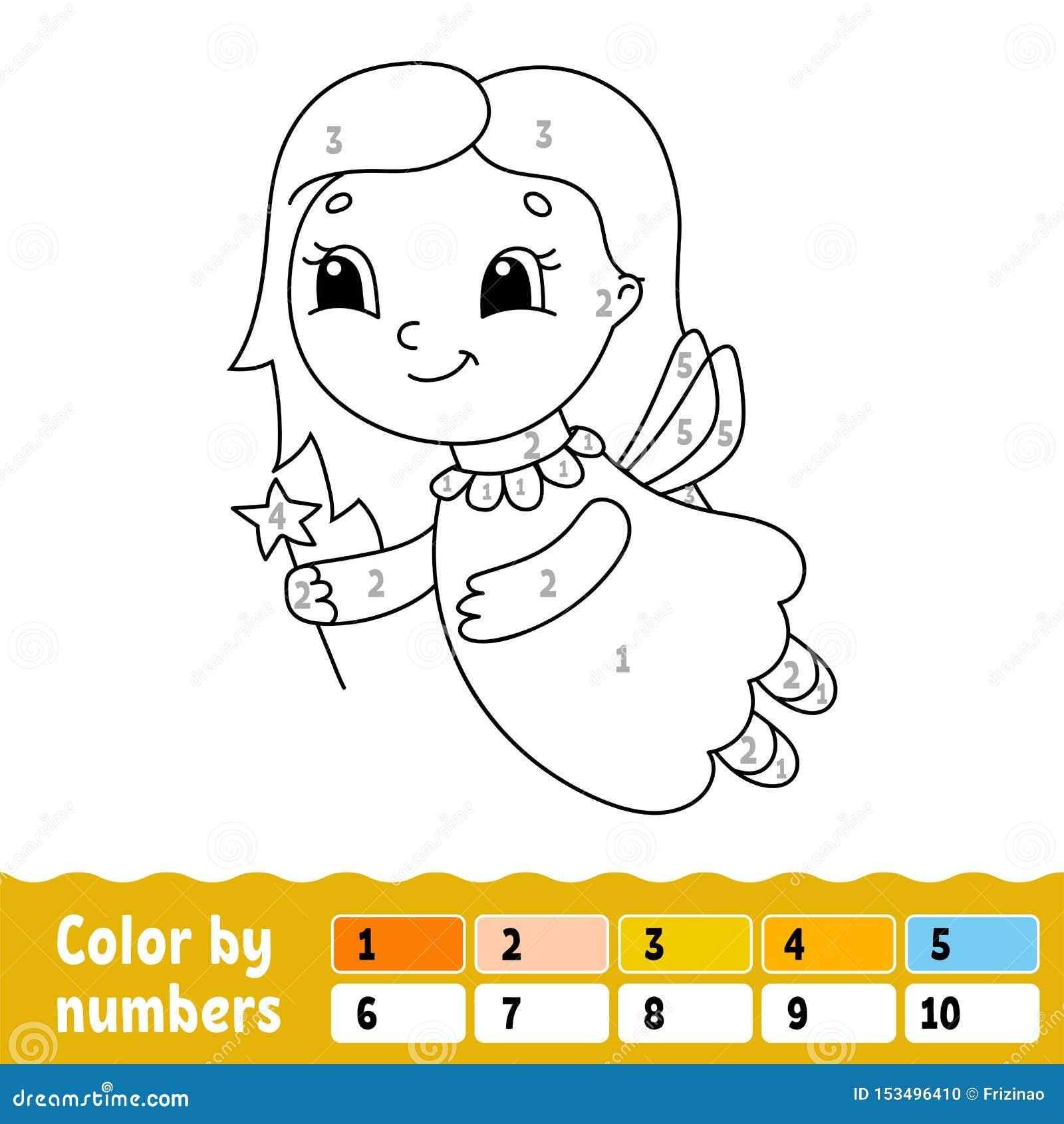 Farbe durch Zahlen Malbuch f?r Kinder Freundliches Zeichen Auch im corel abgehobenen Betrag Nette Karikaturart Hand gezeichnet Fa