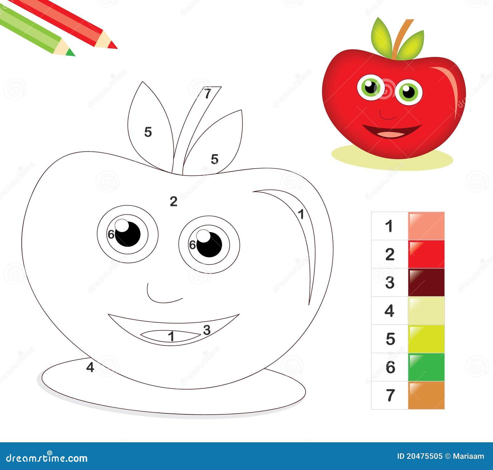 Farbe durch Zahlspiel mit Apfel
