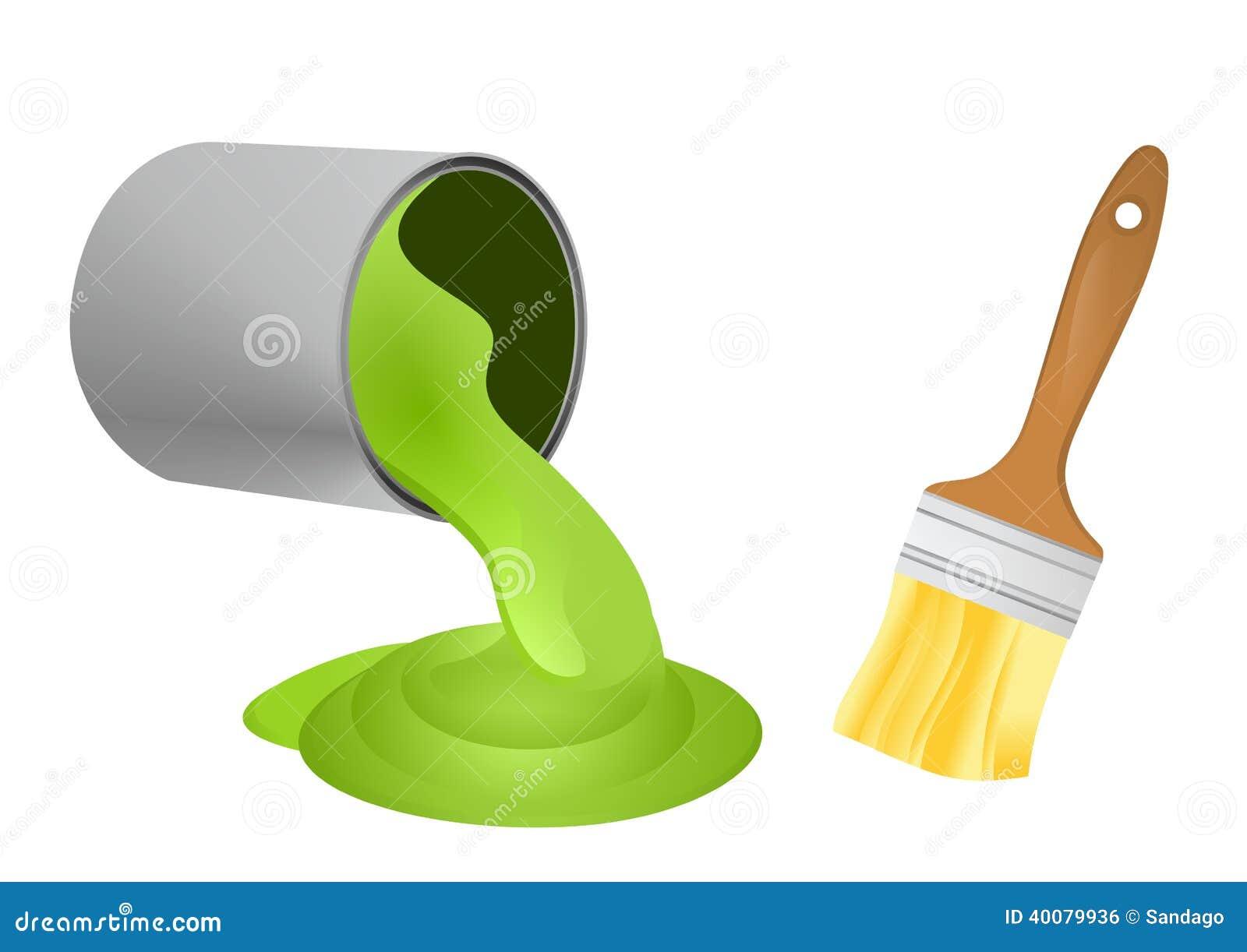Farbe kann und Bürste