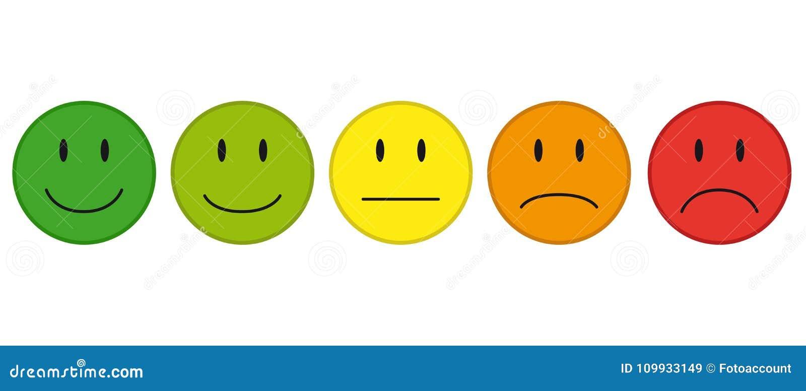 Farbgesichter für Feedback oder Stimmung - 5 Vektor-Ikonen