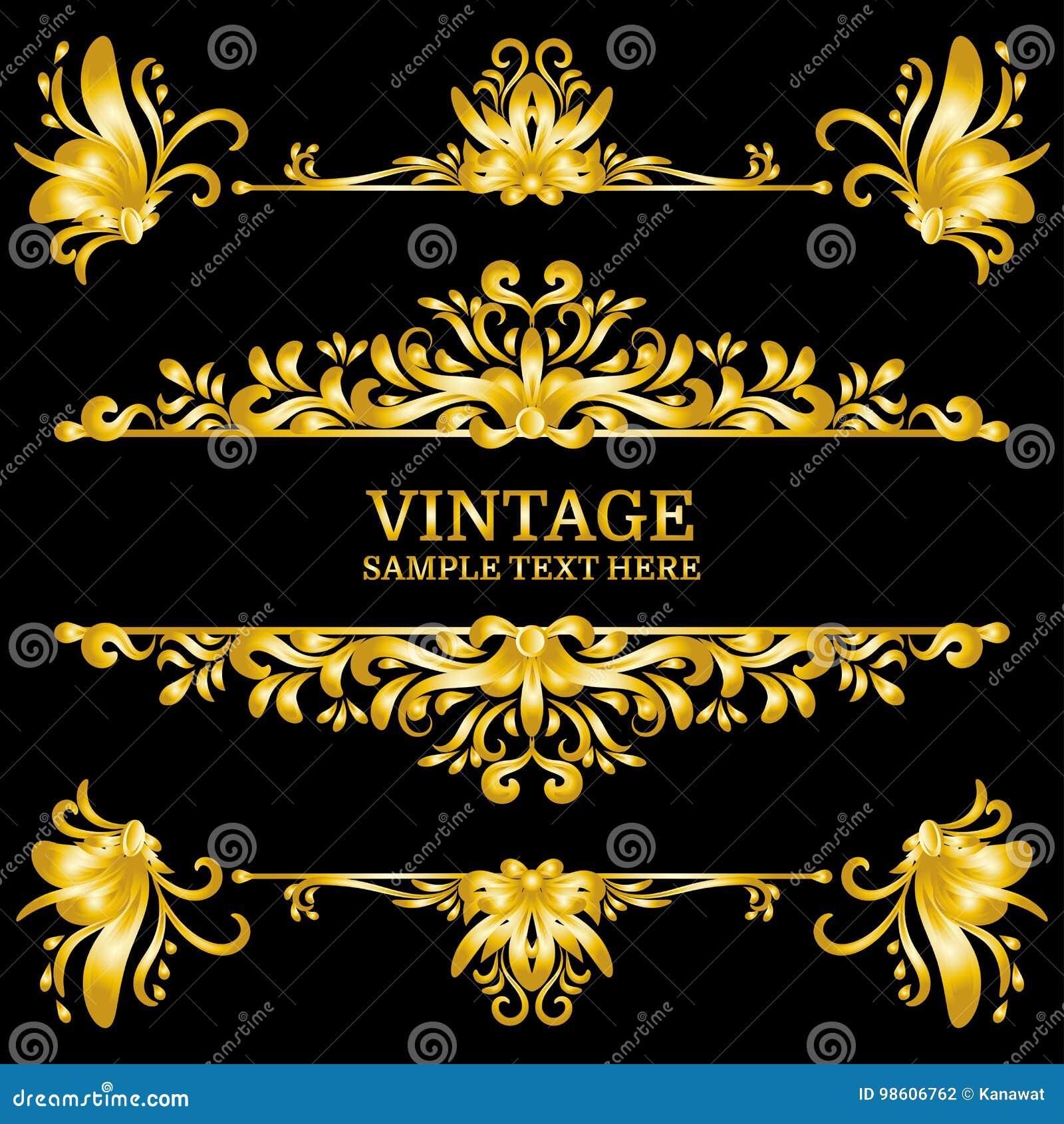 Farbgoldweinlese-Dekorations-Elemente Flourishes-kalligraphische Verzierungen und Rahmen Retro- Art