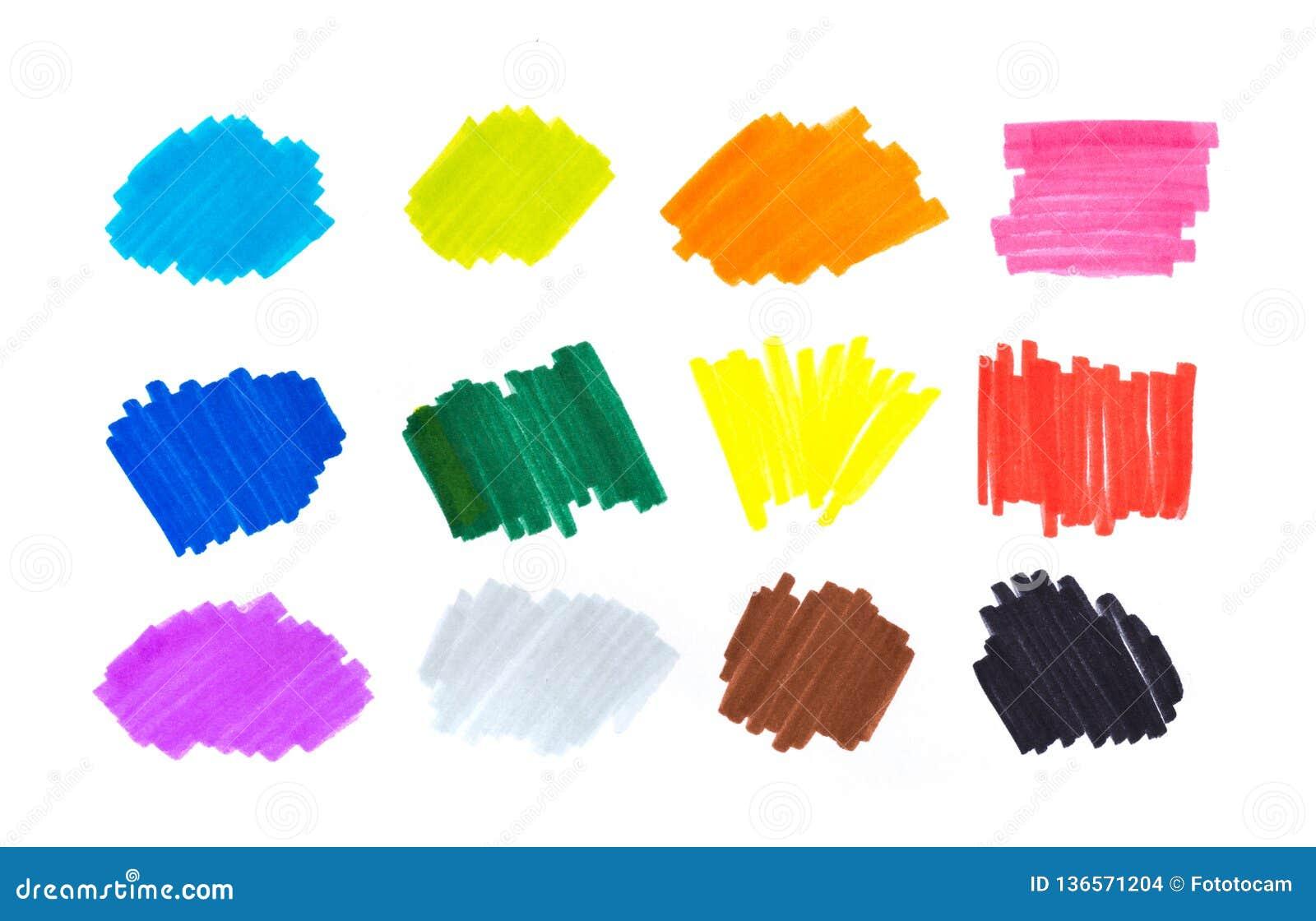Farbhöhepunktstreifen, Fahnen gezeichnet mit Markierungen Stilvolle Höhepunktelemente für Design Höhepunktmarkierungsanschlag, St