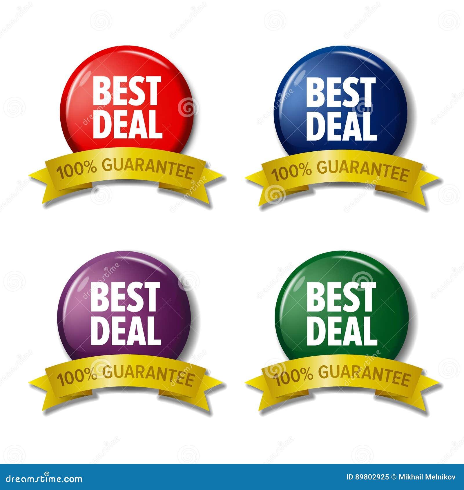Farbige Aufkleber mit Wörter ` bestem Abkommen `, Rabatt etikettiert
