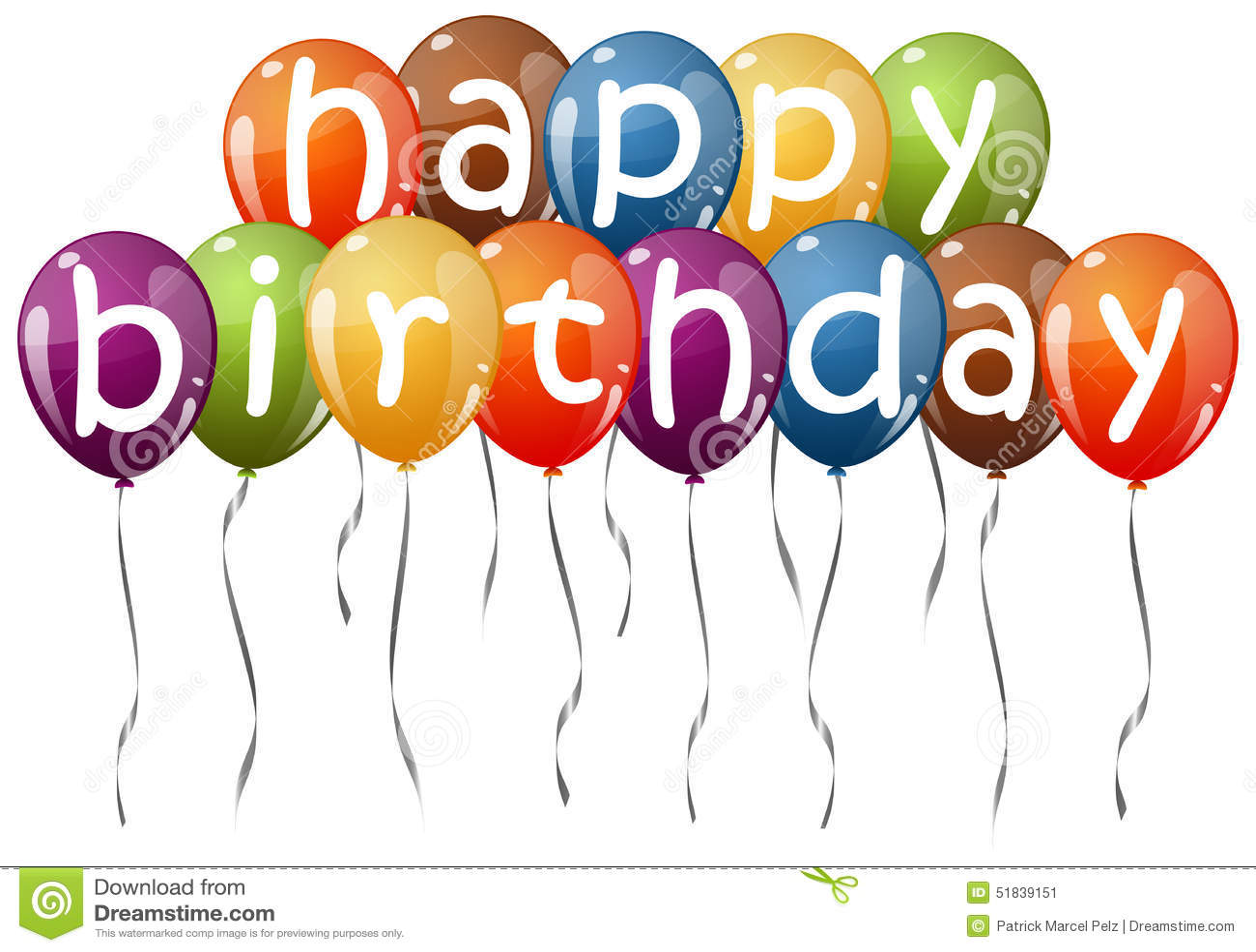 Farbige Ballone Mit Text Alles Gute Zum Geburtstag Vektor
