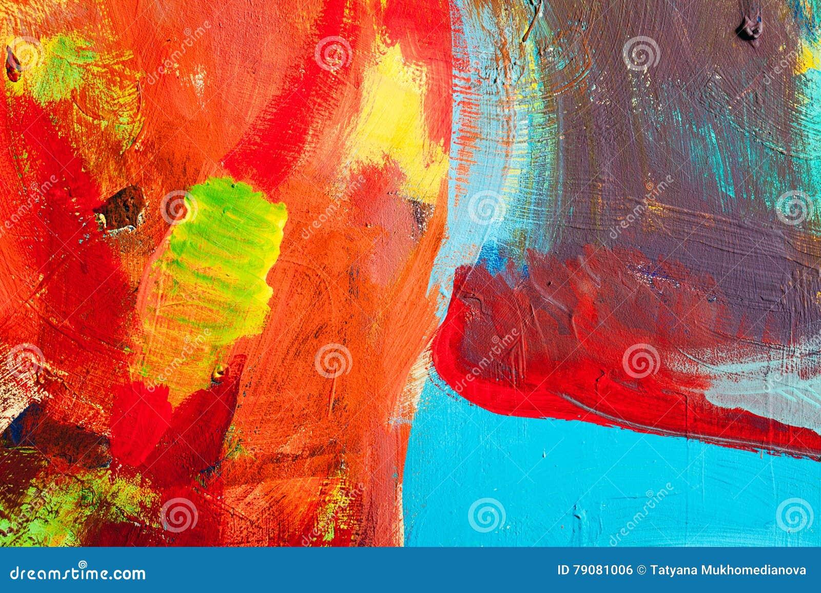 Farbige Farbenanschläge Hintergrund Der Abstrakten Kunst Detail ...