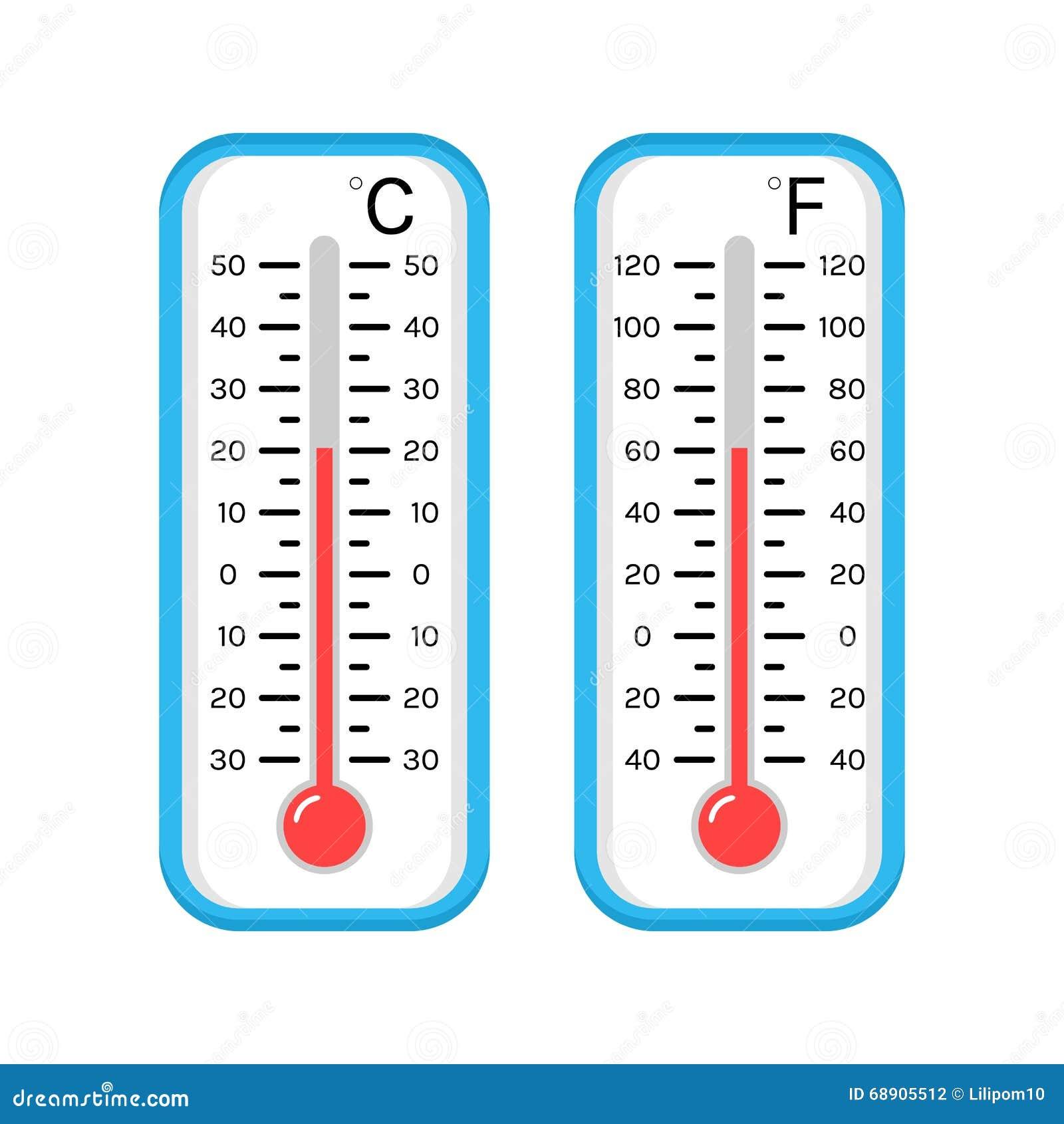 Farbige Flache Ikonen Von Thermometern Für Wetter Skala Celsius ...