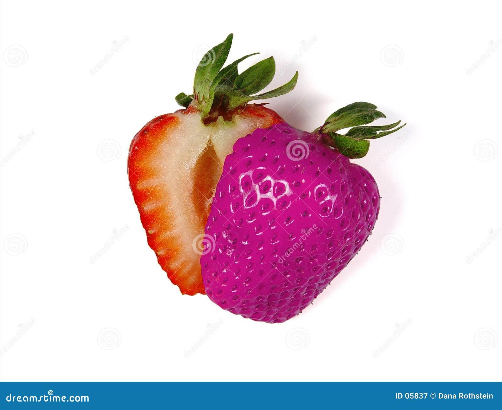 Farbige geschnittene Erdbeere