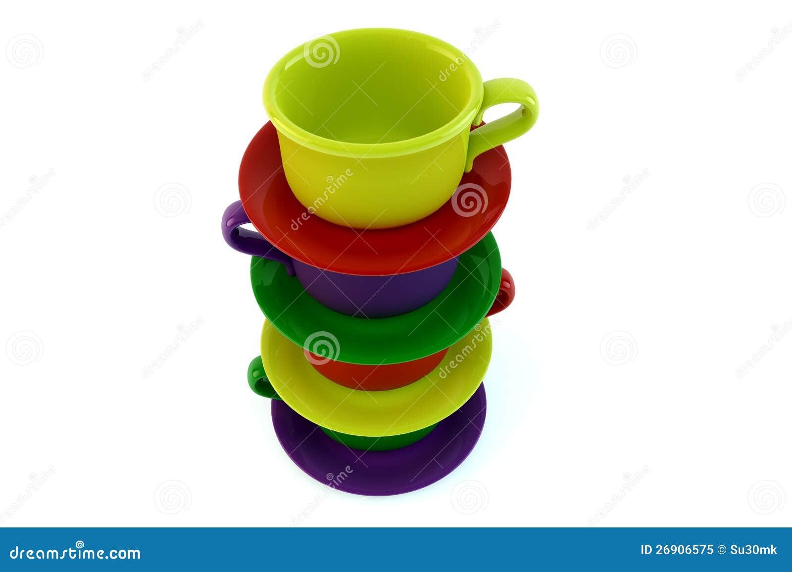 farbige gestapelte kaffeetassen auf wei lizenzfreies stockfoto bild 26906575. Black Bedroom Furniture Sets. Home Design Ideas