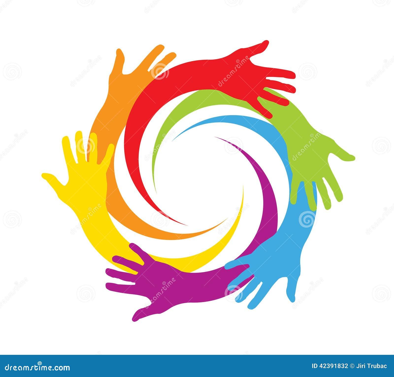 Farbige Hände in einem Kreis
