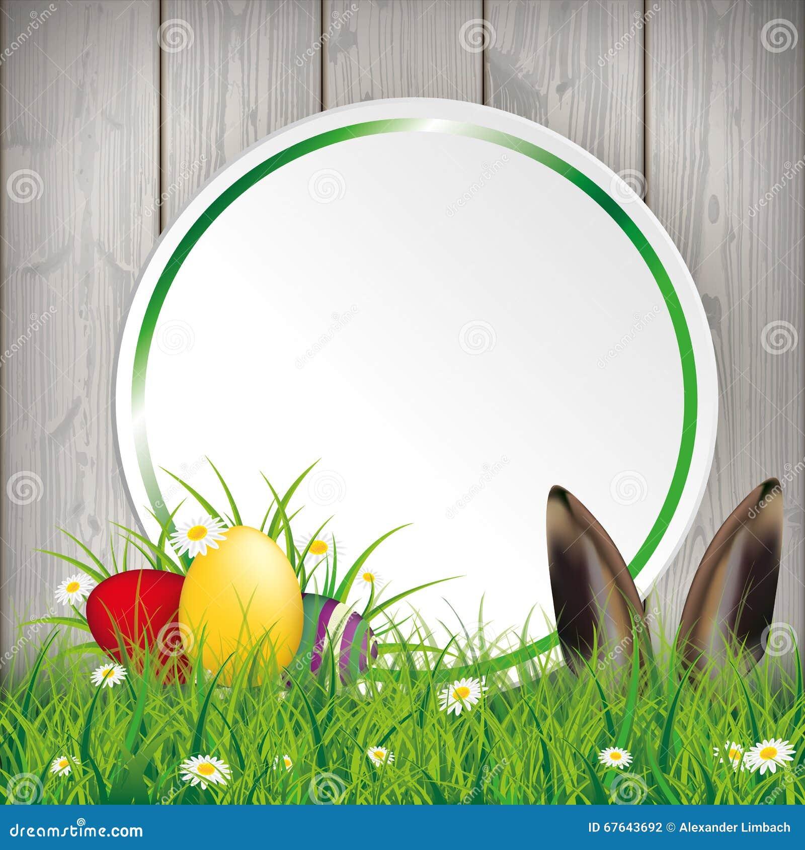Farbige Osterei-Gras-Kreis-Fahnen-Hasen