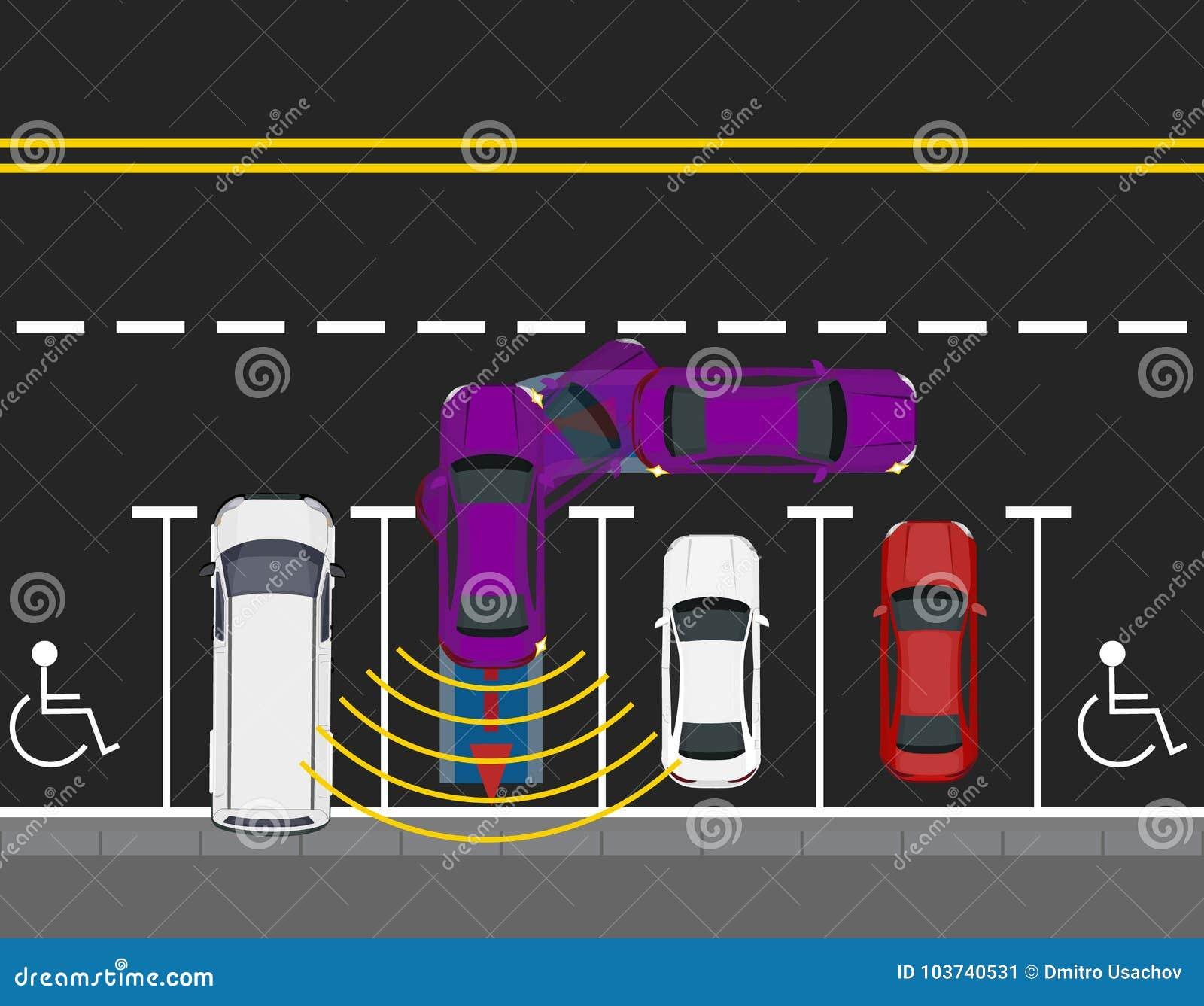 Farbige Parkendes Auto Parkten Durch Die Straße, Draufsicht Entwurf ...