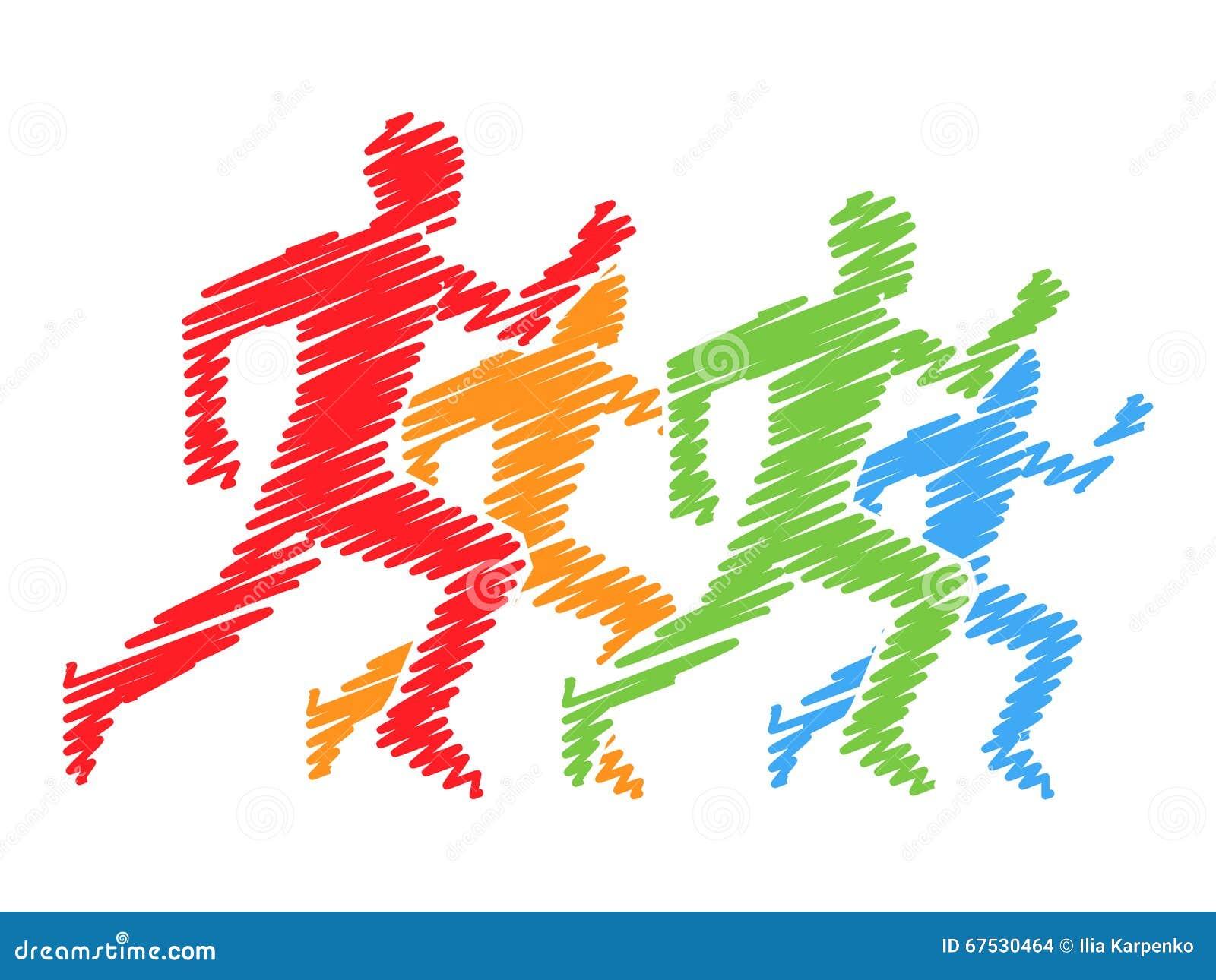 Farbige Schattenbilder von Läufern Vektorbetrieb und Marathonlogo