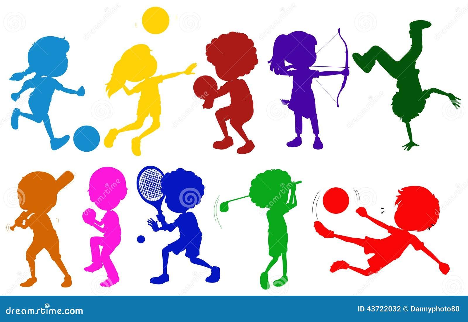 farbige skizzen von den kindern die mit dem unterschiedlichen sport spielen vektor abbildung. Black Bedroom Furniture Sets. Home Design Ideas