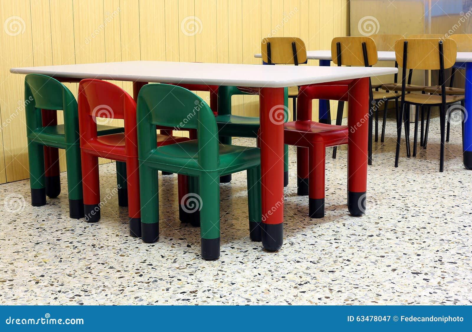 Farbige Tabellen Und Stuhle Im Esszimmer Des Kindergartens Stockbild