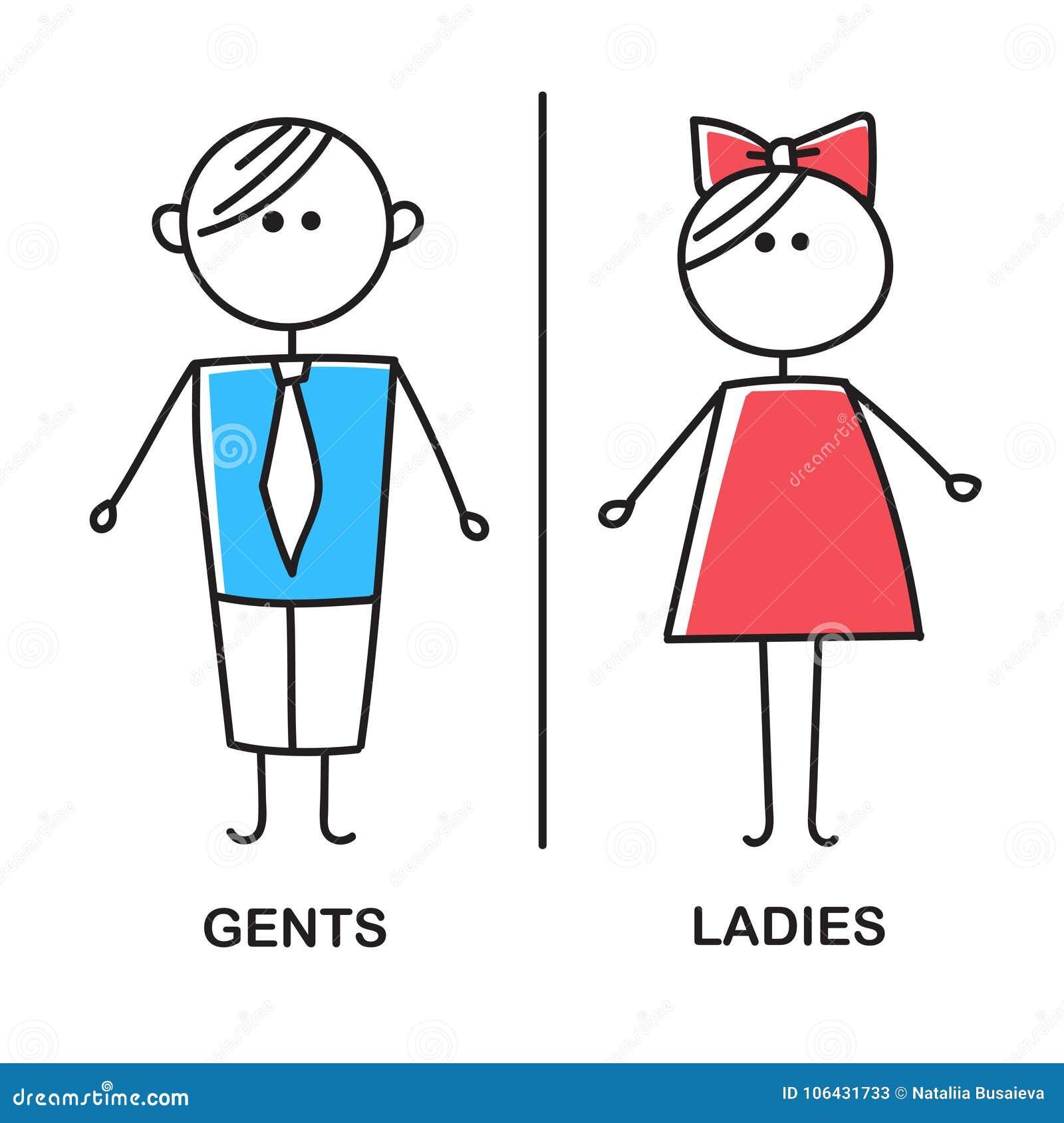 Farbige Toilette Ikone Einfaches Zeichen von WC Männer und Frauen WC-Zeichen für Toilette Vektorskizze auf weißem Hintergrund