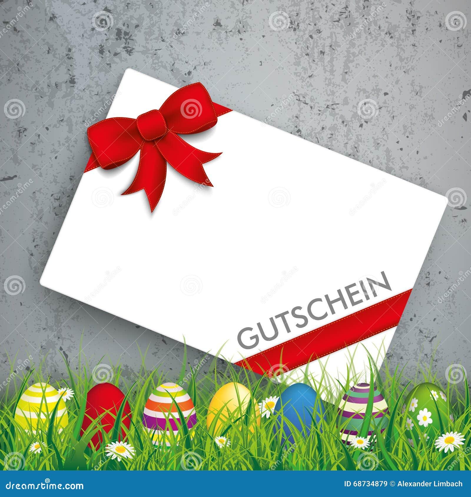 Farbiges Osterei-Gras Gutschein konkret