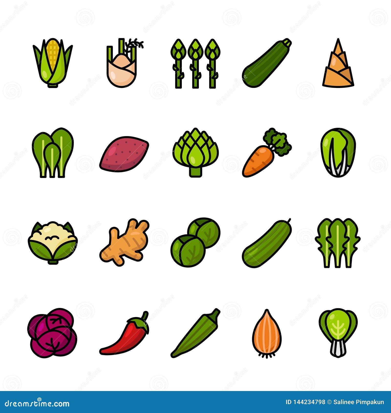 Farblinieikonensatz Gemüse Perfekte Ikonen des Pixels
